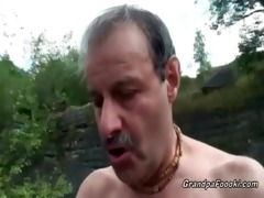 superb chick rides grandpa&#3011 s pounder in