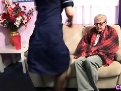 euro fetish nurse strokes old jock
