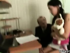 pretty brunette hair gets screwed by her teacher