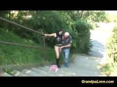 grand-dad fucks legal age teenager in public