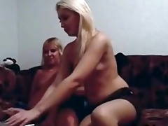 golden-haired mother and not her daughter play on