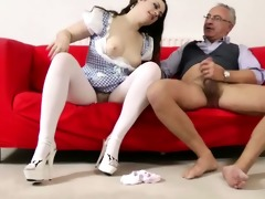 charming brunette hair fucked by old chap