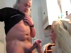 blonde milks old mans pecker