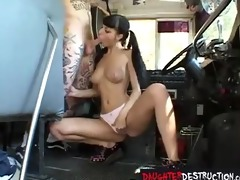 gothic legal age teenager daughter screwed on bus