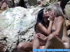 nice-looking angel getting drilled outdoors