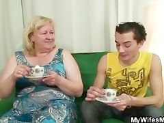 massive granny is team-fucked by her son on law