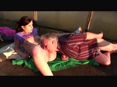 old chap bonks youthful cutie outdoor
