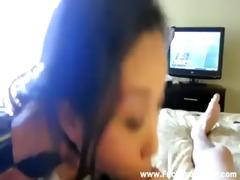 cute oriental is screwed in bed