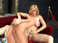 youthful golden-haired playgirl fucking old guy
