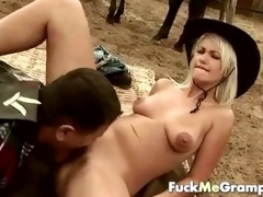 chubby old guy drilled by blond gal