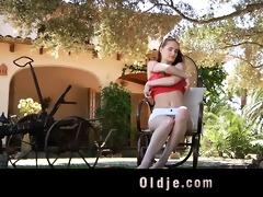 lustful juvenile landlady copulates her old