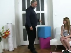 sveta kneels to acquire her mature mans cum all