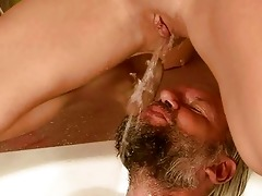 older man and cutie pissing and fucking