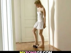 her bf away and she is seduces his hung dad