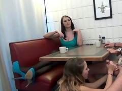 daughter gives footjob and bj to not her dad