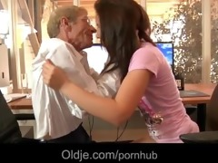 juvenile hussy maid copulates with her old boss