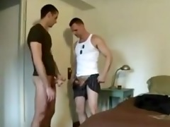 dad and son beat off
