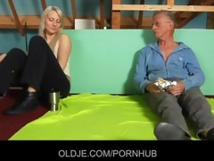 shy oldman tempted and drilled by cocky hussy