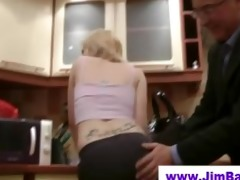 blond does striptease for old dude