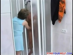 older bitch entice younger stud in the shower