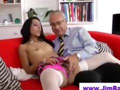 sweetheart in nylons sucks old dude