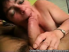 aged woman sucks on younger dudes wang