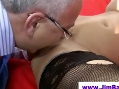 hottie in nylons licked by old dude