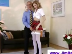 golden-haired masturbating previous to old stud