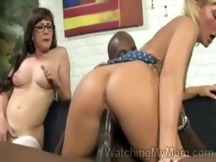 blonde chick mounts a biggest darksome rod in