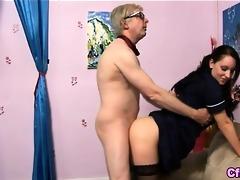 femdom nurse rides old cock
