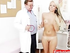 old doctor checks juvenile golden-haired hotty