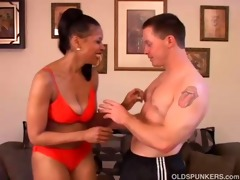 hot aged darksome chick bonks younger white lad