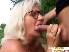 grandma fucks younger lad outdoors