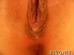 gal caresses her vagina