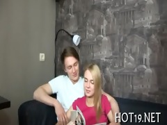 beauty plays with cock