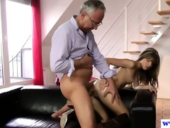 young european slut copulates old mans penis