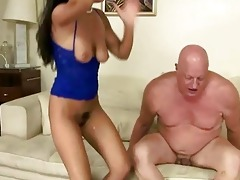 naughty brunette hair fucking overweight grand-dad