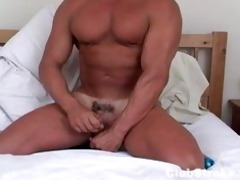built straight guy rock masturbating