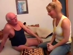 older man plays chess and bonks a juvenile cutie