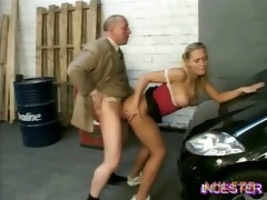 daddy drilled sexy daughter in garage